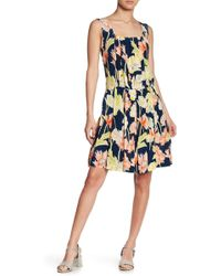 Cacharel | Pleated Floral Print Dress | Lyst