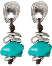 Uno De 50 - Turks Imitation Turquoise & Leather Drop Earrings - Lyst