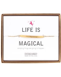 Dogeared - 14k Gold Plated Sterling Silver Life Is Magical 'new Beginnings' Id Bar Bracelet - Lyst