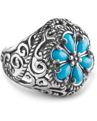 Relios - Sterling Silver Rope Bezel Turquoise Accented Flower Ring - Lyst