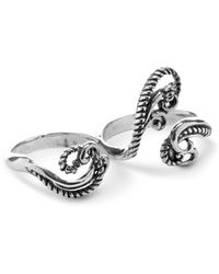 Relios - Sterling Silver Rope Swirl Two Finger Ring - Lyst