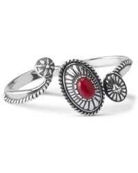 Relios - Sterling Silver Red Coral Accented Wrap Two Finger Ring - Lyst