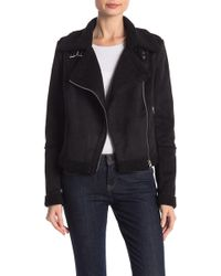 CoffeeShop - Faux Suede Belted Collar Faux Shearling Lined Coat - Lyst