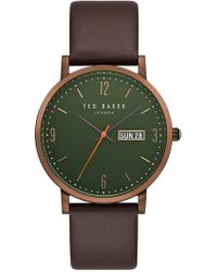 Ted Baker - Grant Leather Strap Watch, 40mm - Lyst