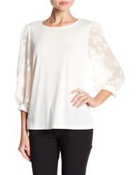 Cece by Cynthia Steffe - Lace Sleeve Knit Blouse - Lyst
