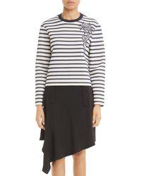 Carven - Stripe Cotton Sweatshirt - Lyst