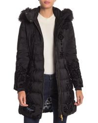 Desigual - Spirit Flocked Faux Fur Hooded Parka - Lyst
