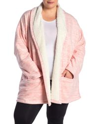 Hue - Marled Illusion Faux Shearling Lined Robe (plus Size) - Lyst