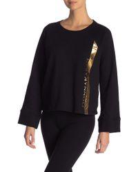 Donna Karan - Logo Printed Crew Neck Sweater - Lyst