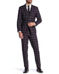 English Laundry - Purple Windowpane Two Button Peak Lapel Vested Suit - Lyst