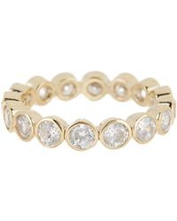 Judith Jack - 10k Gold Plated Sterling Silver Round Bezel Crystal Ring - Size 7 - Lyst