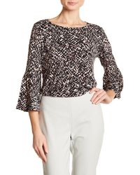 Ellen Tracy - Patterned Bell Sleeve Blouse - Lyst