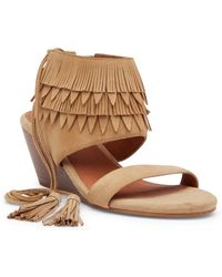 Matiko | Bekka Leather Fringe Wedge Sandal | Lyst