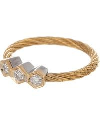 Alor - 18k White Gold & Yellow Stainless Steel Cable Diamond Triple Hex Ring - Size 7 - 0.07 Ctw - Lyst