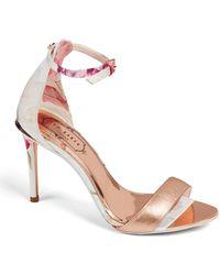 7d43b91d6 Lyst - Ted Baker Vallama Block Heel Sandal in Pink