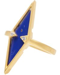 Freida Rothman - 14k Gold Plated Sterling Silver Cz Lapis Armor Ring - Size 5 - Lyst