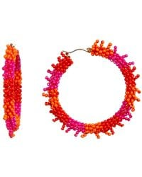Suzanna Dai - Triple Color Beaded Accent 50mm Hoop Earrings - Lyst
