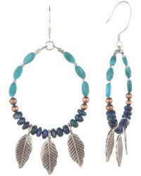 Peyote Bird - Sterling Silver 3.1mm Pearl, Turquoise, & Chrysocolla Front-facing Hoop Earrings - Lyst