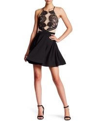 City Triangles - Lace Mesh Fit & Flare Dress - Lyst