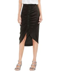 Vince Camuto - Ruched Lace-up Ribbed Pencil Skirt - Lyst