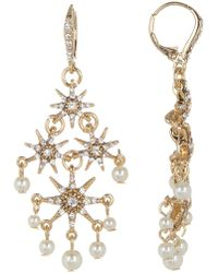 Jenny Packham - Glass Crystal Embellished Star With Imitation Pearl Chandelier Earrings - Lyst