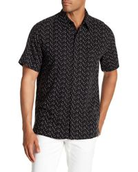 Tocco Toscano - Short Sleeve Micro Print Silk Woven Shirt - Lyst