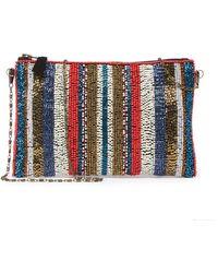 G-Lish - Beaded Stripe Zip-top Clutch - Lyst