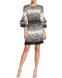 Chetta B - Tiered Ruffle Sleeve Floral Dress - Lyst