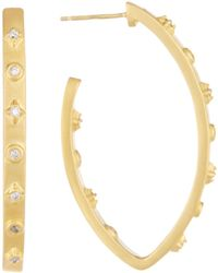 Freida Rothman - 14k Yellow Gold Plated Sterling Silver Audrey Pointed Oval Cz 40mm Hoop Earrings - Lyst
