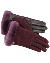 UGG - Shorty Smart Fabric Faux Fur Lined Genuine Shearling Cuff Gloves - Lyst