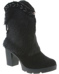 BEARPAW - Mariah Faux Fur Trim Block Heel Boot - Lyst