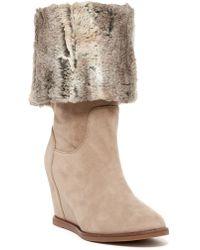 Johnston & Murphy - Brynn Tall Faux Fur Wedge Boot - Lyst