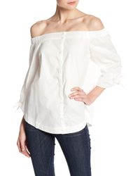 Lush - Poplin Button Down Off-the-shoulder Blouse - Lyst