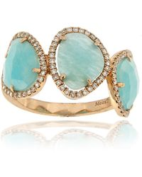 Meira T - 14k Rose Gold Blue Amazonite & Diamond Ring - Lyst