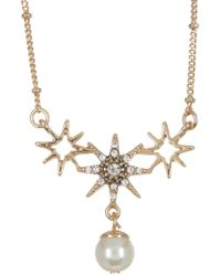 Jenny Packham - Prong Set Glass Crystal Star With Imitation Pearl Pendant Necklace - Lyst
