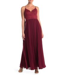 Laundry by Shelli Segal - Faux Suede & Chiffon Gown - Lyst