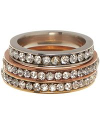 Liberty | Gold Plated Stainless Steel Cz Eternity Ring Set | Lyst