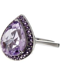 Liberty - Sterling Silver Rose De France And Amethyst Accent Ring - Lyst