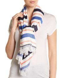 Roffe Accessories | Frayed Trim Stripe Wrap Scarf | Lyst