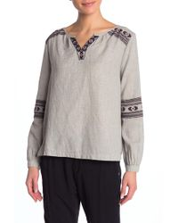 Roxy - Timing Matters Embroidered Peasant Blouse - Lyst