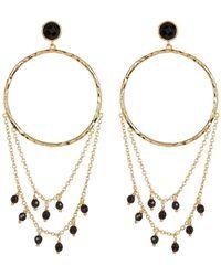 Gorjana - Sol Stone Beaded Chain 38mm Hammered Hoop Earrings - Lyst