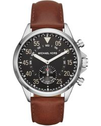 MICHAEL Michael Kors - Men's Stainless Steel Leather Strap Watch, 44mm - Lyst