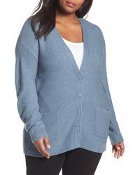 Caslon - Long V-neck Wool Blend Cardigan (plus Size) - Lyst