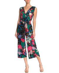 Spense Tropical Print Sleeveless Crop Jumpsuit