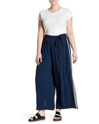 Angie   Side Stripe Cropped Pants (plus Size)   Lyst