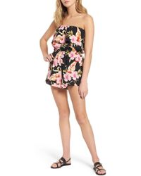 Mimi Chica - Floral Print Strapless Romper - Lyst