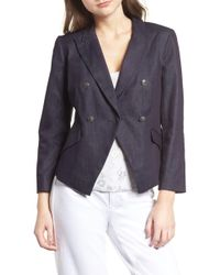 Chelsea28 - Double Breasted Denim Blazer - Lyst