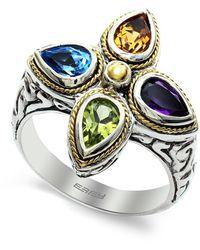 Effy Sterling Silver & 18k Gold Multi Gemstone Ring - Size 7 - Orange