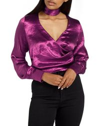 Missguided   Choker Collar Faux Wrap Blouse   Lyst