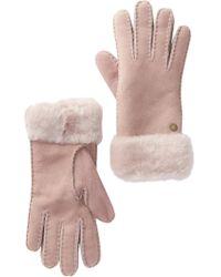 UGG - Genuine Sheepskin Suede Turn Cuff Gloves - Lyst